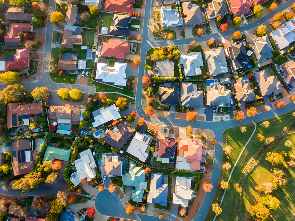 suburb aerial view